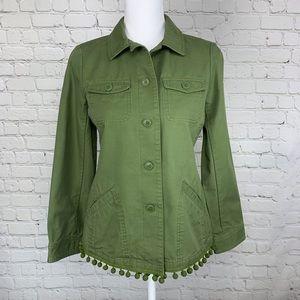 Talbots Pom Pom twill petite olive army jacket